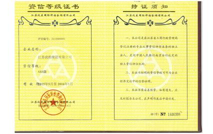 资信AAA等级证书